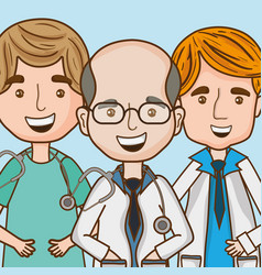 Specialist doctors men with stethoscope and vector