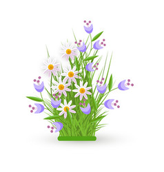 spring and summer floral bundle with white vector image