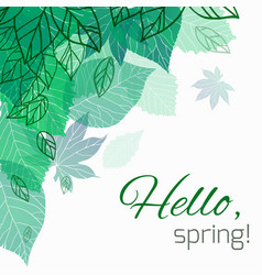 spring card with doodle and green leaves for vector image