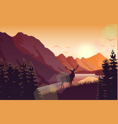 Sunset mountain landscape with deer near a lake vector