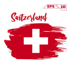 switzerland flag brush strokes painted vector image