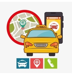 Taxi service concept gps mobile phone icon vector
