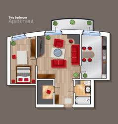 Top view floor plan of the house room vector