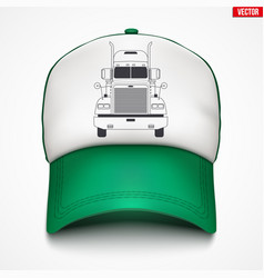 Trucker cap with truck label vector