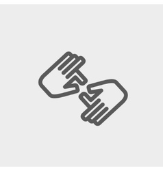 Two hands thin line icon vector