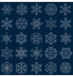 vintage snowflake set in zentangle style 25 vector image