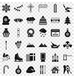 winter birthday icons set simple style vector image