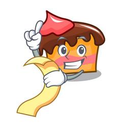 With menu sponge cake mascot cartoon vector