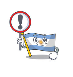 With sign flag argentina cartoon shaped mascot vector