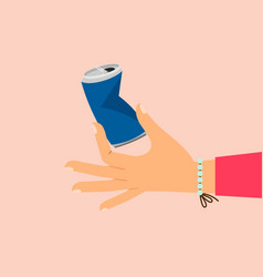 woman hand holding broken aluminum can vector image