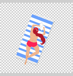 woman on beach isolated on transparent background vector image