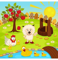 yard with animals and pond vector image
