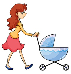 A woman and baby buggy vector image
