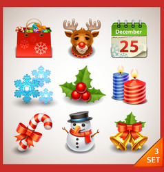 Christmas icon set-3 vector image vector image