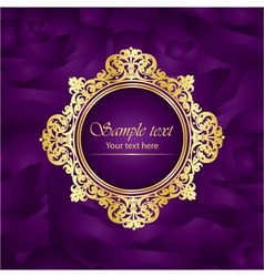 purple luxury square background gold frame roses vector image vector image