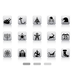 christmas button icons vector image vector image