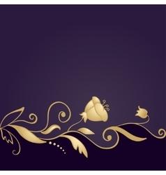 Golden floral ornament on purple background vector image vector image