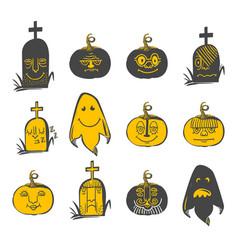 halloween avatars set vector image vector image