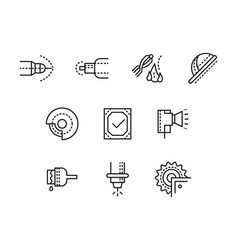 metalworking equipment black line icons set vector image vector image