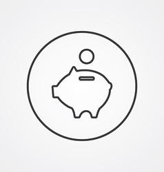 Moneybox piggy outline symbol dark on white vector