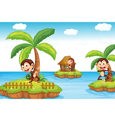 Monkeys at the beach vector image