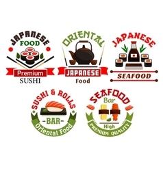 Oriental Japanese food restaurant icons vector image