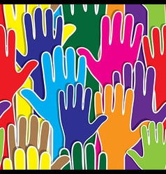 People support hand like heart united seamless vector image