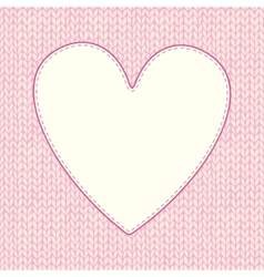 Seamless knitted pattern with heart shaped frame vector image vector image