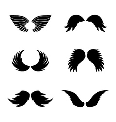 Black silhouette angel wings set feathers vector image vector image