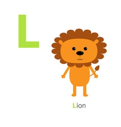 Letter L Lion Zoo alphabet English abc with vector image vector image