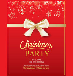 merry christmas party and gold ribbon on red vector image