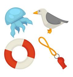 sea themed small set of isolated cartoon vector image