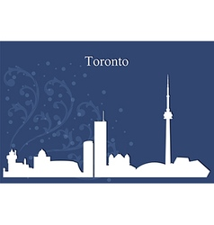Toronto city skyline on blue background vector image vector image