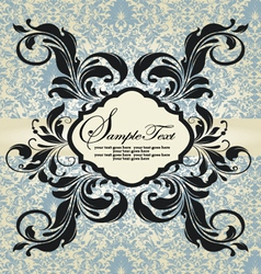 vintage blue damask invitation vector image vector image