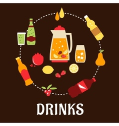 Beverages and drinks flat composition vector image vector image