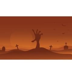 Brown backgrounds Halloween hand zombie silhouette vector image vector image