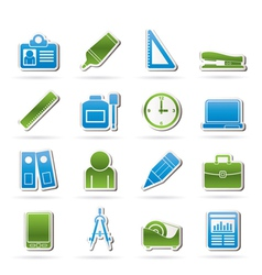 Business and office objects icons vector image vector image