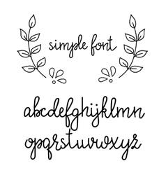Simple handwritten cursive font vector image vector image