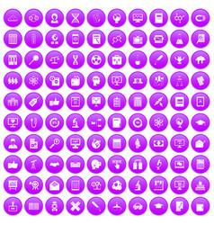 100 analytics icons set purple vector