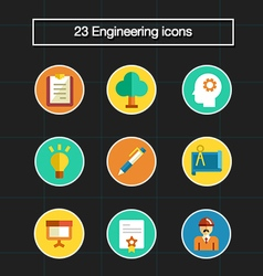 23 professional engineering flat icons vector