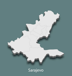 3d isometric map of sarajevo is a city of bosnia vector image