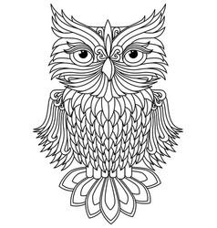 Amusing owl black outline vector