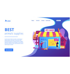 Animals shop concept landing page vector