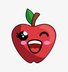 apple fruit character kawaii vector image