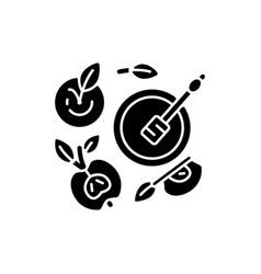 Apples and honey pot black glyph icon vector