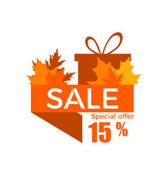 autumn sale 15 discount ribbon with yellowed vector image