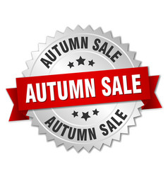 Autumn sale 3d silver badge with red ribbon vector