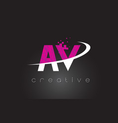 Av a v creative letters design with white pink vector