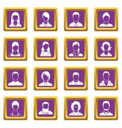 avatars set icons set purple vector image