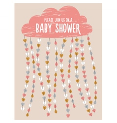 Baby shower invitation Cloud hearts drops vector image